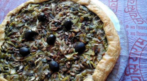 Pizza vegana de escarola